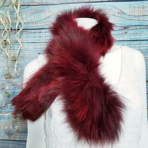 Accessories - Real Fur Neck Warmer Scarf Burgundy Crimson